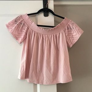 Express pink off the shoulder shirt, size Small
